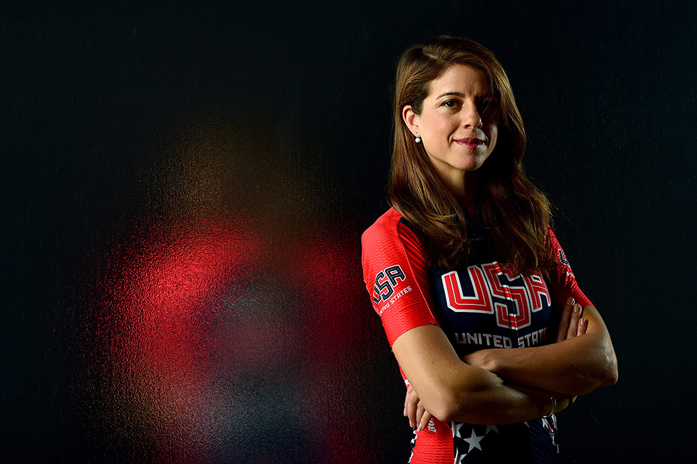 LOS ANGELES, CA - NOVEMBER 19: Cyclist Evelyn Stevens poses for a portrait at the USOC Rio Olympics Shoot at Quixote Studios on November 19, 2015 in Los Angeles, California. (Photo by Harry How/Getty Images)