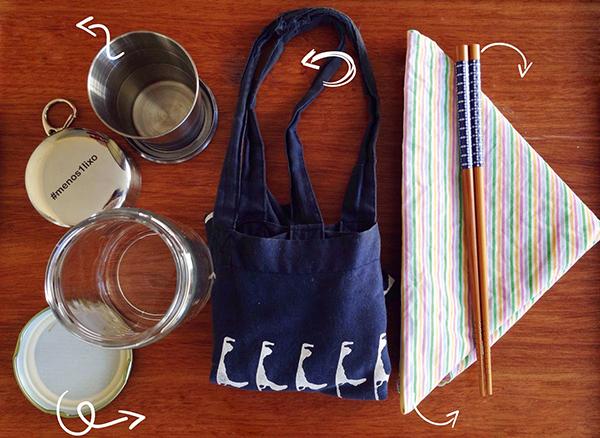 Copos reutilizáveis, hashis, guardanapos e sacolas de pano: armas de quem quer viver desperdiçando menos