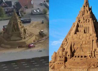Castelo de areia com tema Covid bate recorde de maior do mundo
