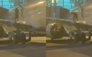 Passageiro pula na asa do avião